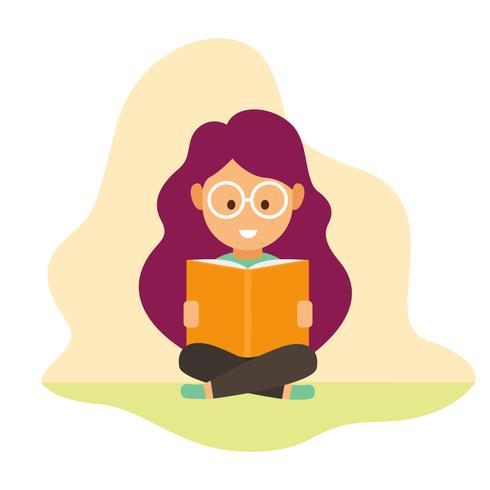 Liten tjej läsning bok