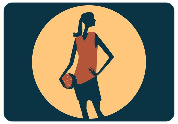 Kvinna Basketspelare Stående Vektor