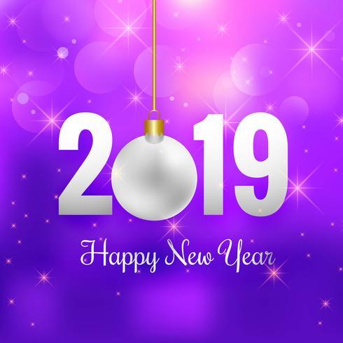 Elegante 2019 feliz ano novo cartão colorido fundo vector