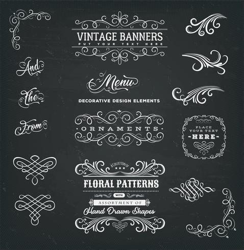 Kalligraphische Rahmen und Fahnen auf Tafel
