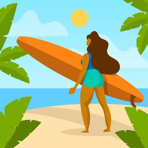 Garota plana traz ilustração em vetor de atividade de praia de prancha de surf