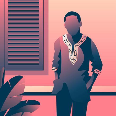 uomo nel modello di moda dashiki