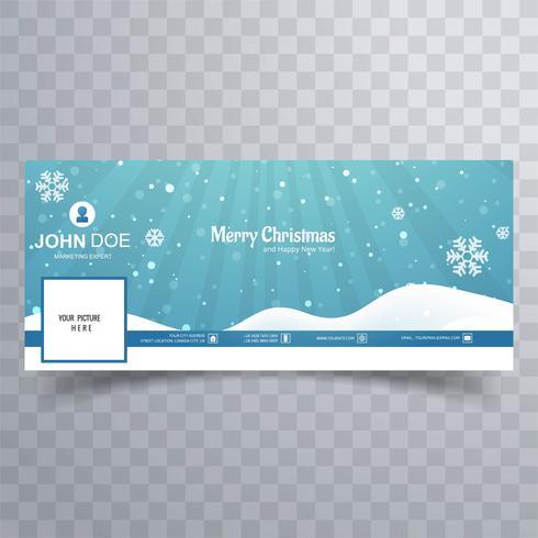Feliz Natal floco de neve com vetor de modelo de banner do facebook