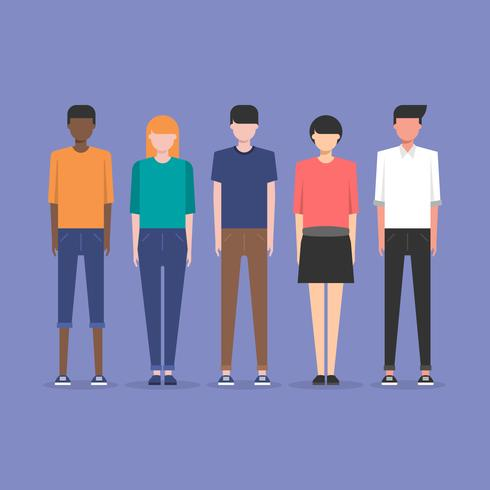 Ilustração moderna do conceito da amizade da sociedade multicultural