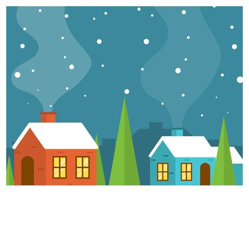 Ilustração em vetor plana vila inverno minimalista