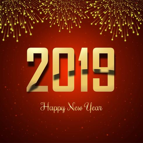Linda feliz ano novo 2019 com celebração colorido backgrou