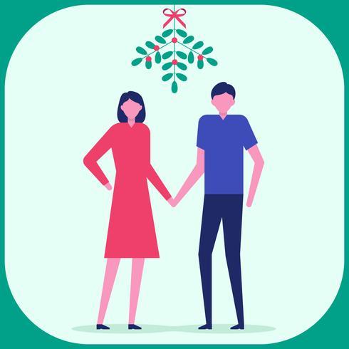 Christmas Couple Under The Mistletoe Illustration