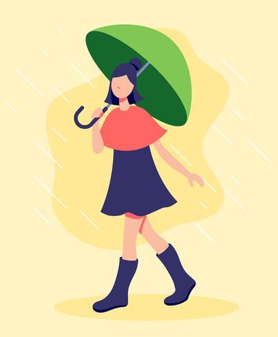 Meisje met paraplu illustratie