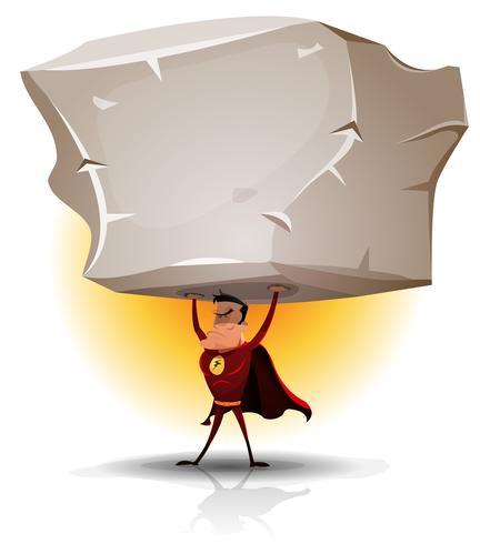 Super-héros tenant un gros rocher lourd vecteur