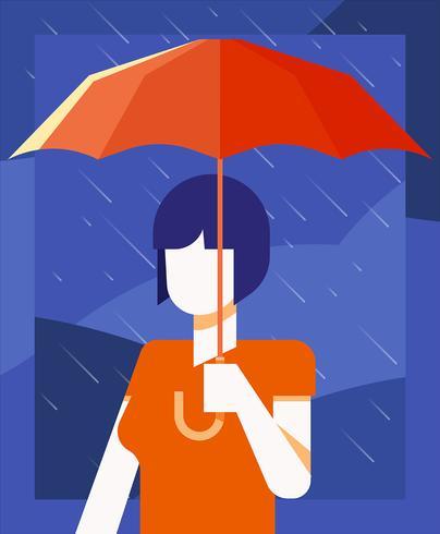 Menina, segurando, guarda-chuva, ilustração