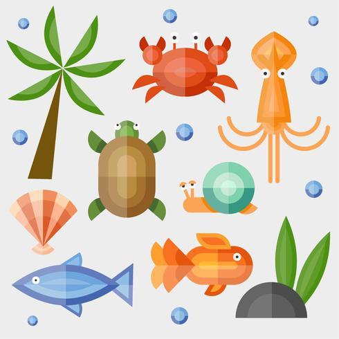 Vetor de temas geométricos animais mar