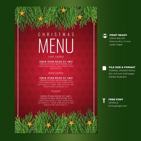 Tarjetas de menú de cena de felicitación navideña