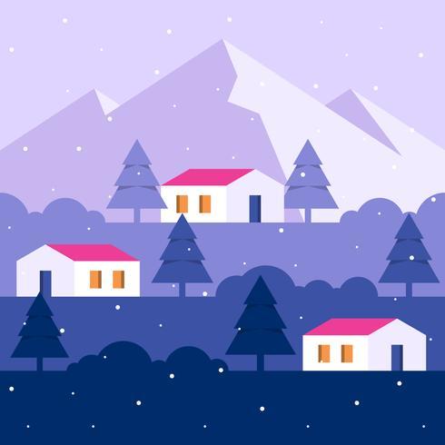 Illustrazione del paesaggio urbano della campagna della neve di inverno vettore