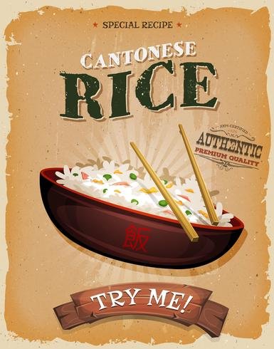 Fried Rice With Asian Chopsticks On Vintage Poster
