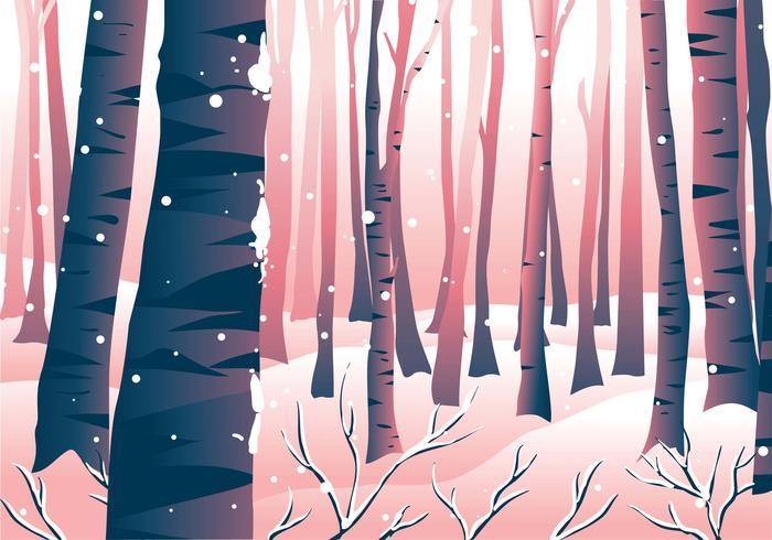 Winter Forrest Scene Landscape vector