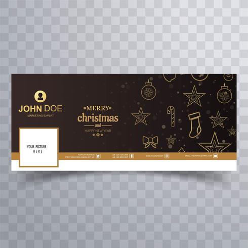 Tarjeta de feliz navidad con diseño de banner de facebook