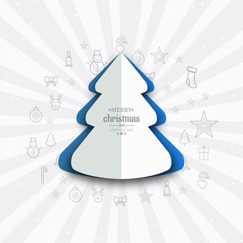 Elegant merry christmas tree card background vector illustration
