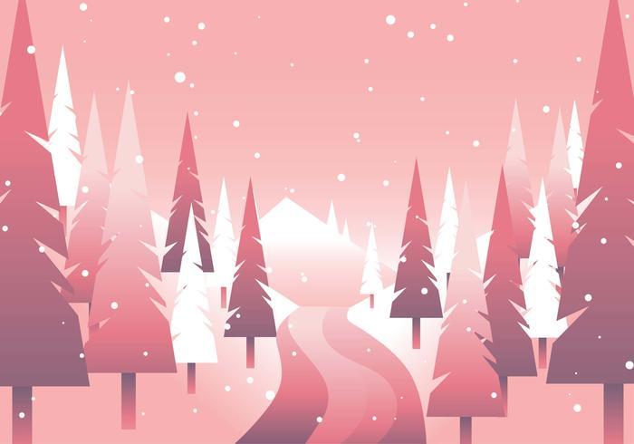Winter Forrest Path Minimalismus geometrisch