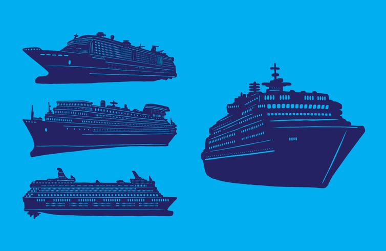 Set of Cruise Liner Ships vector