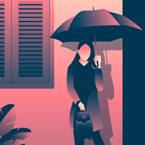 Guarda-chuva de exploração de menina de faculdade