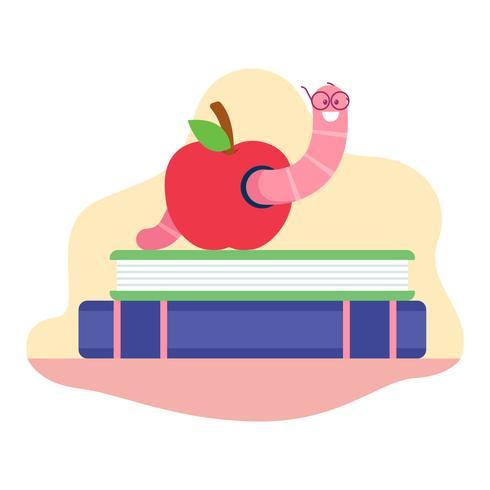 Bookworm through an apple vector