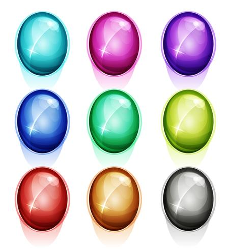 Rounded Gems, Diamonds Icons And Buttons