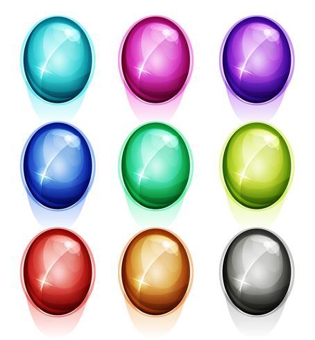 Gemas arredondadas, ícones de diamantes e botões