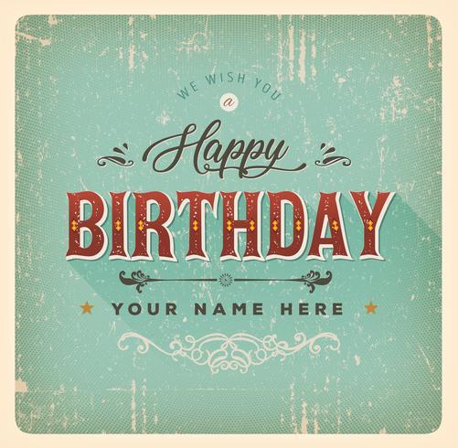 Vintage gelukkige verjaardagskaart vector