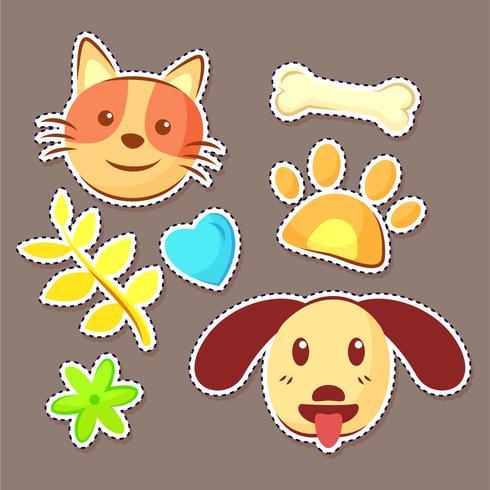 adesivi per cani e gatti vettore