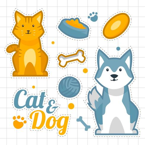 Cute Cat And Dog Sticker Set vector