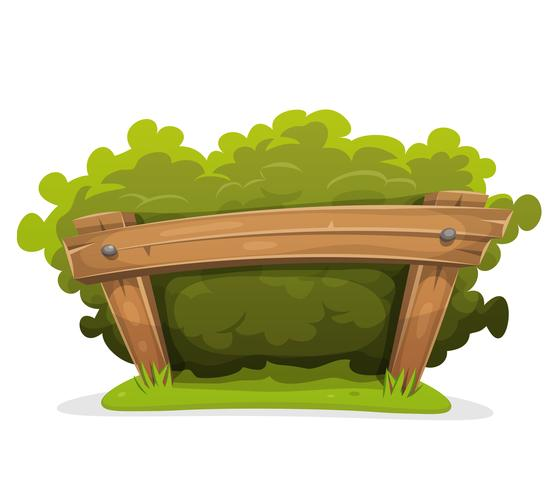 Cartoon Hedge With Wood Barrier vector