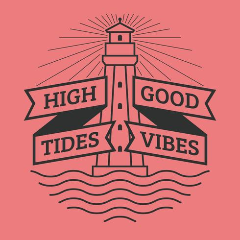 Unique High Tides Good Vibes Lettering Vectors