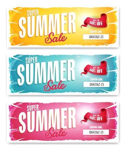 Banner de venta de verano caliente con código de cupón
