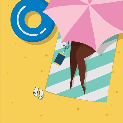 Sunbathing on the Beach Under Umbrella vector