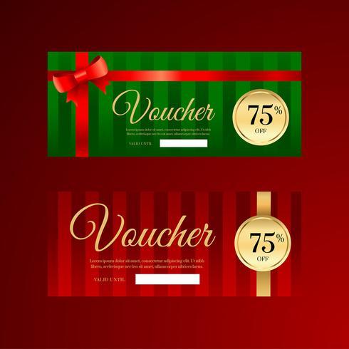 Modèles de chèques cadeaux de ruban de Noël