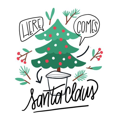 Cute Christmas Tree, Leaves, Flowers And Lettering