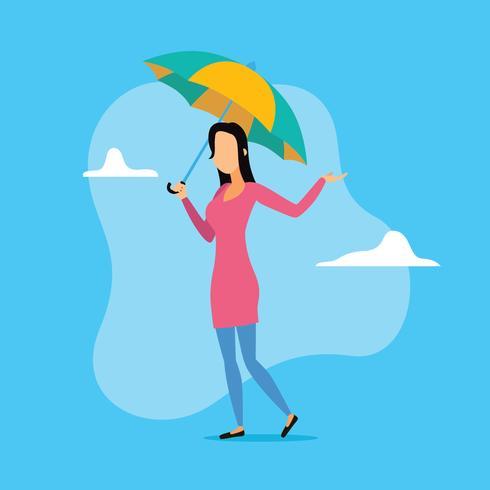 Niña sosteniendo paraguas