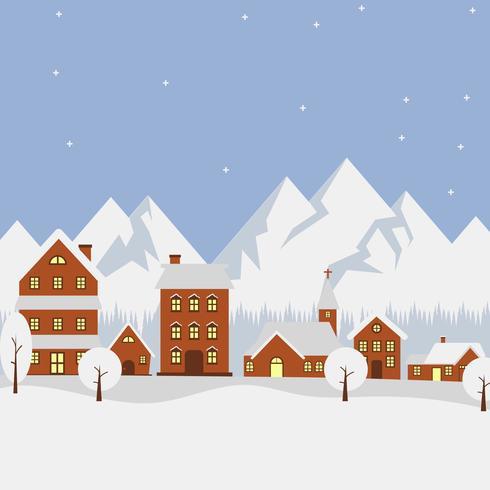 Flat Winter Village Vector Illustration