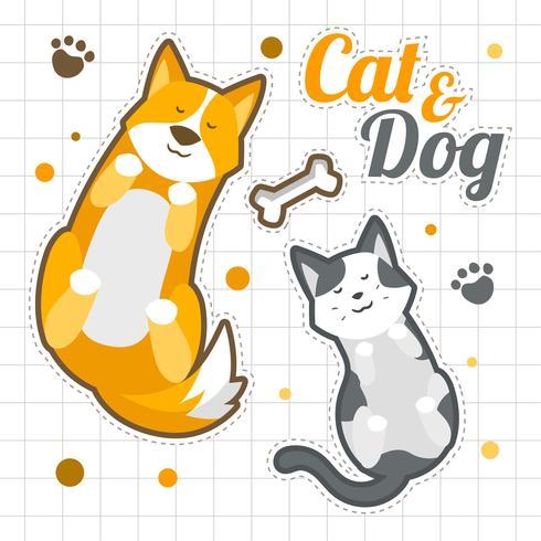 O gato e os cães dormem etiquetas engraçadas vetor