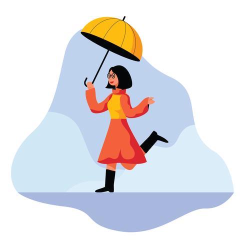 Ragazza allegra con il suo ombrello vettore