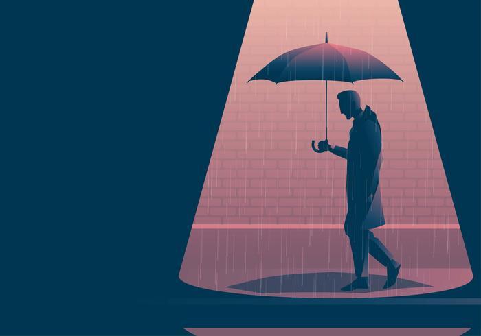 Rapaz vestindo capa de chuva andando com guarda-chuva vetor