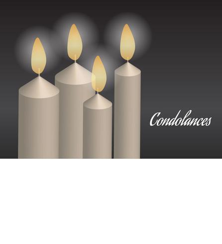 Condoléances légères avec bougie dans le noir