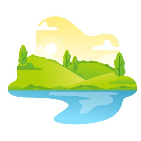 Spring Landscape Vector Illustration