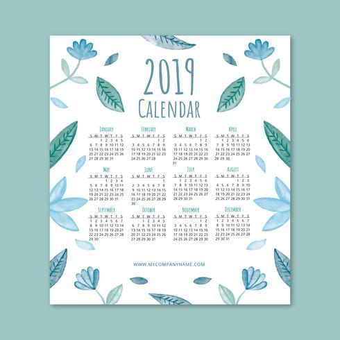 Calendario carino 2019 con foglie e fiori blu vettore