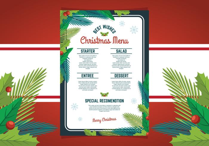 Diseño de menú de cena de Navidad