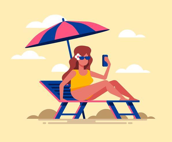 Ilustración de actividades de playa