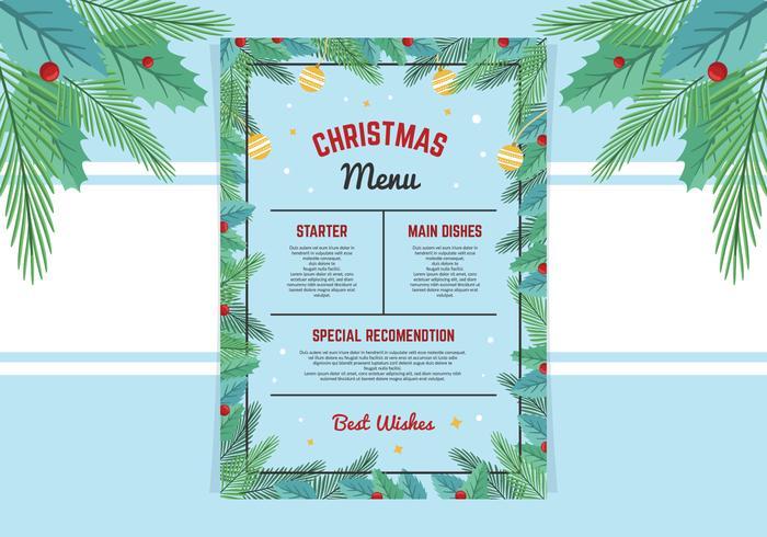 Hermosa plantilla de menú de Navidad
