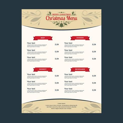 Modelo de menu de jantar de Natal