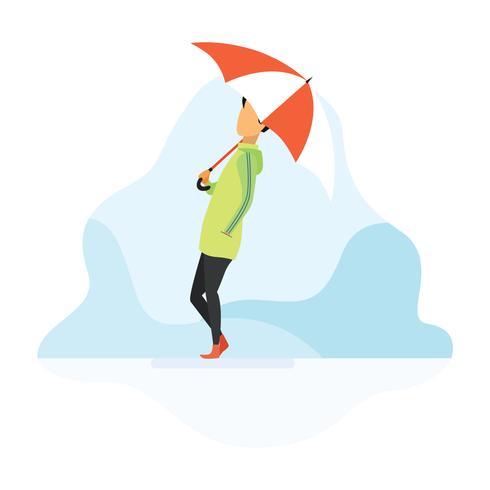 Jongen bedrijf paraplu