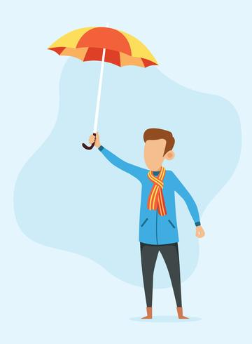 Um, menino, segurando guarda-chuva